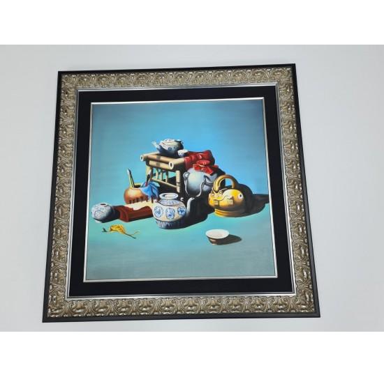 Framed Acrylic painting on canvas with black silk border