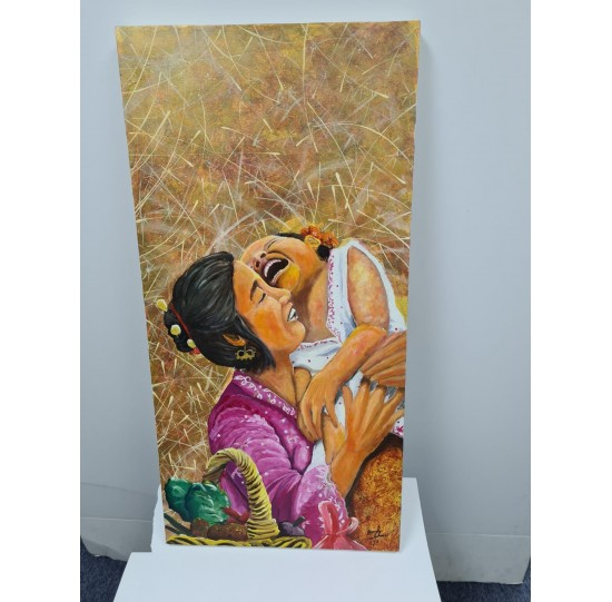 """""""Mum & Child"""" stretched canvas painting"""